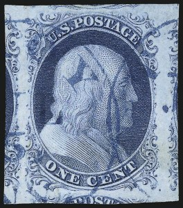 Sale Number 1034, Lot Number 17, 1c 1851-56 Issue (Scott 5-9)1c Blue, Ty. II (7), 1c Blue, Ty. II (7)