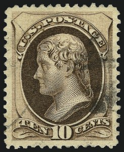 Sale Number 1034, Lot Number 175, 1870-88 Bank Note Issues (Scott 146-218)10c Brown, Without Secret Mark (187), 10c Brown, Without Secret Mark (187)