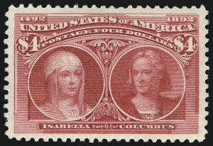 Sale Number 1034, Lot Number 224, 1893 Columbian Issue (Scott 230-245)$4.00 Columbian (244), $4.00 Columbian (244)