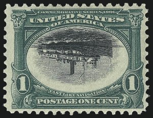 Sale Number 1034, Lot Number 287, 1901 Pan-American Issue with Inverts (Scott 294-299)1c Pan-American, Center Inverted (294a), 1c Pan-American, Center Inverted (294a)