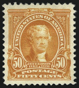 Sale Number 1034, Lot Number 302, 1902-08 Issues (Scott 300-320a)50c Orange (310), 50c Orange (310)