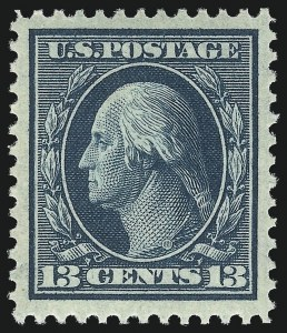 Sale Number 1034, Lot Number 324, 1908-09 Washington-Franklin Issues (Scott 331-366)13c Blue Green (339), 13c Blue Green (339)