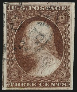 Sale Number 1034, Lot Number 33, 1851-56 Issue (Scott 10-17)3c Brownish Carmine, Ty. II (11A), 3c Brownish Carmine, Ty. II (11A)