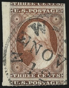 Sale Number 1034, Lot Number 34, 1851-56 Issue (Scott 10-17)3c Brownish Carmine, Ty. II (11A), 3c Brownish Carmine, Ty. II (11A)
