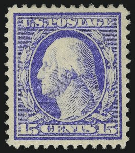 Sale Number 1034, Lot Number 355, 1909 Commemoratives and 1909-12 Washington-Franklin Issues (Scott 367-396)15c Pale Ultramarine (382), 15c Pale Ultramarine (382)