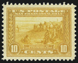 Sale Number 1034, Lot Number 373, 1913 Panama Pacific Issue (Scott 397-404)10c Orange Yellow, Panama-Pacific (400), 10c Orange Yellow, Panama-Pacific (400)