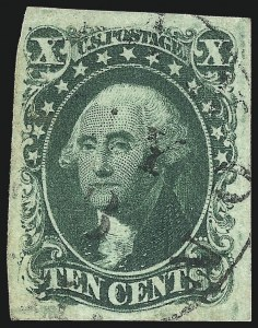 Sale Number 1034, Lot Number 39, 1851-56 Issue (Scott 10-17)10c Green, Ty. IV (16), 10c Green, Ty. IV (16)