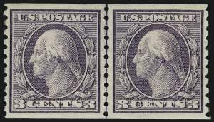 Sale Number 1034, Lot Number 424, 1914-17 Washington-Franklin Issues (Scott 441-485)3c Violet, Coil (456), 3c Violet, Coil (456)