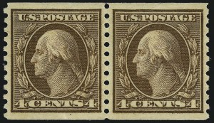 Sale Number 1034, Lot Number 427, 1914-17 Washington-Franklin Issues (Scott 441-485)4c Brown, Coil (457), 4c Brown, Coil (457)