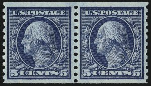 Sale Number 1034, Lot Number 428, 1914-17 Washington-Franklin Issues (Scott 441-485)5c Blue, Coil (458), 5c Blue, Coil (458)