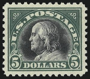 Sale Number 1034, Lot Number 470, 1917-20 Washington-Franklin Issues (Scott 486-541)$5.00 Deep Green & Black (524), $5.00 Deep Green & Black (524)