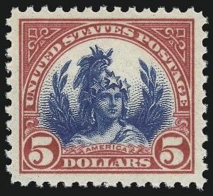Sale Number 1034, Lot Number 497, 1922-25 Issue and Later Issues (Scott 550-834)$5.00 Carmine & Blue (573), $5.00 Carmine & Blue (573)