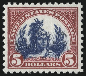 Sale Number 1034, Lot Number 498, 1922-25 Issue and Later Issues (Scott 550-834)$5.00 Carmine & Blue (573), $5.00 Carmine & Blue (573)
