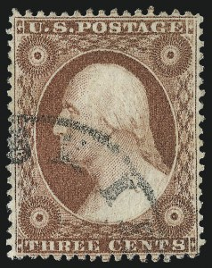 Sale Number 1034, Lot Number 51, 1857-60 Issue and 1875 Reprint (Scott 18-47)3c Rose, Ty. I (25), 3c Rose, Ty. I (25)