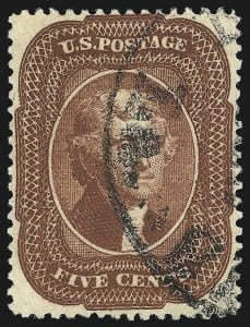Sale Number 1034, Lot Number 56, 1857-60 Issue and 1875 Reprint (Scott 18-47)5c Indian Red (28A), 5c Indian Red (28A)