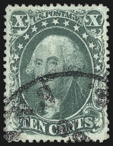 Sale Number 1034, Lot Number 62, 1857-60 Issue and 1875 Reprint (Scott 18-47)10c Green, Ty. IV (34), 10c Green, Ty. IV (34)