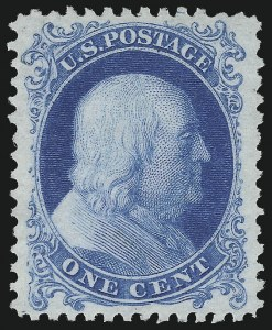 Sale Number 1034, Lot Number 70, 1857-60 Issue and 1875 Reprint (Scott 18-47)1c Bright Blue, Reprint (40), 1c Bright Blue, Reprint (40)