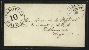 Sale Number 1035, Lot Number 87, Petersburg Va. To Victoria Tex.Talbotton Ga., 10c Black entire (94XU2), Talbotton Ga., 10c Black entire (94XU2)