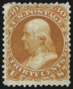 Sale Number 1036, Lot Number 111, 1861 Issue First Designs and Colors (Scott 56-66)30c Red Orange, First Color (61), 30c Red Orange, First Color (61)