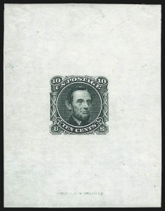 Sale Number 1037, Lot Number 1131, Essays and Proofs (1869 Pictorial Issue)10c Green, Lincoln, Die Essay on India (116-E1c), 10c Green, Lincoln, Die Essay on India (116-E1c)