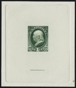 Sale Number 1037, Lot Number 1154, Essays and Proofs (1870-88 Bank Note Issues)1c Green, Large Die Trial Color Proof on India (156TC1), 1c Green, Large Die Trial Color Proof on India (156TC1)