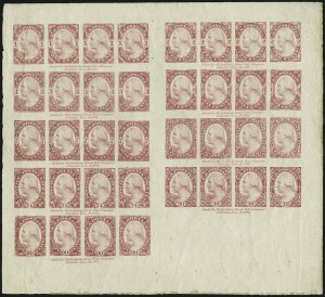 Sale Number 1037, Lot Number 1168, Essays and Proofs (1870-88 Bank Note Issues)Philadelphia Bank Note Co., 1c-90c Light Red Violet, Composite Sheet of 36 on Stamp Paper (182-E3a/191-E2b), Philadelphia Bank Note Co., 1c-90c Light Red Violet, Composite Sheet of 36 on Stamp Paper (182-E3a/191-E2b)