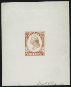 Sale Number 1037, Lot Number 1172, Essays and Proofs (1870-88 Bank Note Issues)Continental Bank Note Co., 3c Washington, Die Essay on White Glazed Paper (184-E13b), Continental Bank Note Co., 3c Washington, Die Essay on White Glazed Paper (184-E13b)