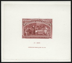 Sale Number 1037, Lot Number 1210, Essays and Proofs (1890 Issue thru Columbian Issue)5c Bright Rose Red, Large Die Trial Color Proof on Card (234TC1d var), 5c Bright Rose Red, Large Die Trial Color Proof on Card (234TC1d var)