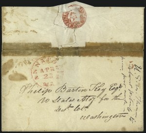 Sale Number 1037, Lot Number 1340, Postmasters` Provisionals - Annapolis Md. thru St. Louis Mo. (Scott 2XU1var-11X2)Annapolis Md., (5c) Red Handstamp (2XU1 var), Annapolis Md., (5c) Red Handstamp (2XU1 var)