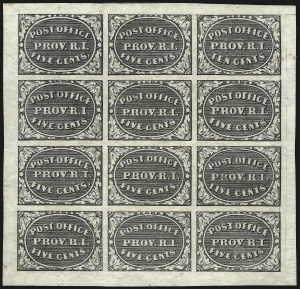 Sale Number 1037, Lot Number 1345, Postmasters` Provisionals - Annapolis Md. thru St. Louis Mo. (Scott 2XU1var-11X2)Providence R.I., 5c & 10c Gray Black, Se-Tenant (10X2a), Providence R.I., 5c & 10c Gray Black, Se-Tenant (10X2a)