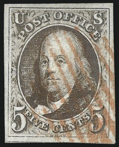 Sale Number 1037, Lot Number 1353, 5c 1847 Issue and 1875 Reproduction of 1847 Issue (Scott 1-4)5c Brown (1), 5c Brown (1)