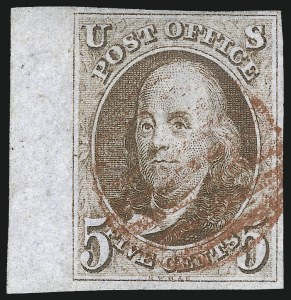 Sale Number 1037, Lot Number 1356, 5c 1847 Issue and 1875 Reproduction of 1847 Issue (Scott 1-4)5c Red Brown (1), 5c Red Brown (1)