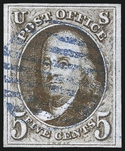Sale Number 1037, Lot Number 1357, 5c 1847 Issue and 1875 Reproduction of 1847 Issue (Scott 1-4)5c Red Brown (1), 5c Red Brown (1)
