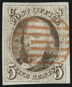 Sale Number 1037, Lot Number 1358, 5c 1847 Issue and 1875 Reproduction of 1847 Issue (Scott 1-4)5c Red Brown (1), 5c Red Brown (1)