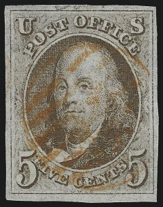 Sale Number 1037, Lot Number 1359, 5c 1847 Issue and 1875 Reproduction of 1847 Issue (Scott 1-4)5c Red Brown (1), 5c Red Brown (1)