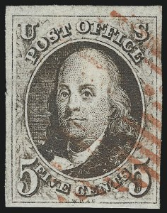 Sale Number 1037, Lot Number 1365, 5c 1847 Issue and 1875 Reproduction of 1847 Issue (Scott 1-4)5c Blackish Brown (1a), 5c Blackish Brown (1a)