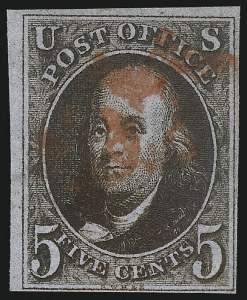 Sale Number 1037, Lot Number 1366, 5c 1847 Issue and 1875 Reproduction of 1847 Issue (Scott 1-4)5c Blackish Brown (1a), 5c Blackish Brown (1a)