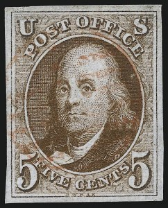 Sale Number 1037, Lot Number 1369, 5c 1847 Issue and 1875 Reproduction of 1847 Issue (Scott 1-4)5c Orange Brown (1b), 5c Orange Brown (1b)