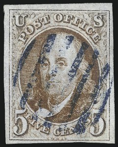 Sale Number 1037, Lot Number 1370, 5c 1847 Issue and 1875 Reproduction of 1847 Issue (Scott 1-4)5c Orange Brown (1b), 5c Orange Brown (1b)