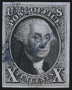 Sale Number 1037, Lot Number 1384, 5c 1847 Issue and 1875 Reproduction of 1847 Issue (Scott 1-4)10c Black (2), 10c Black (2)