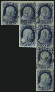 Sale Number 1037, Lot Number 1404, 1c 1851-56 Issue (Scott 5-9)1c Blue, Ty. II, Plate 2 Crack (7 var), 1c Blue, Ty. II, Plate 2 Crack (7 var)