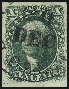 Sale Number 1037, Lot Number 1433, 3c-12c 1851-56 Issue (Scott 10-17)10c Green, Ty. I (13), 10c Green, Ty. I (13)