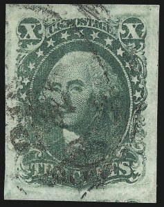 Sale Number 1037, Lot Number 1440, 3c-12c 1851-56 Issue (Scott 10-17)10c Green, Ty. III (15), 10c Green, Ty. III (15)