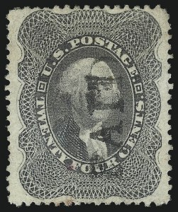 Sale Number 1037, Lot Number 1506, 3c-90c 1857-60 Issue (Scott 26-39)24c Gray Lilac (37), 24c Gray Lilac (37)