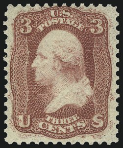 Sale Number 1037, Lot Number 1532, 1861-66 Issue (Scott 56-66)3c Brown Rose, First Design (56), 3c Brown Rose, First Design (56)