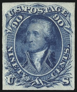 Sale Number 1037, Lot Number 1534, 1861-66 Issue (Scott 56-66)90c Blue, First Design, Imperforate (62a), 90c Blue, First Design, Imperforate (62a)