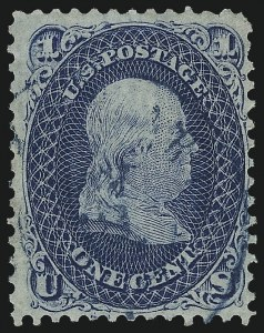 Sale Number 1037, Lot Number 1539, 1861-66 Issue (Scott 56-66)1c Blue, Vertically Laid Paper (63c), 1c Blue, Vertically Laid Paper (63c)