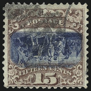 Sale Number 1037, Lot Number 1685, 1869 Pictorial Issue Inverts (Scott 119b-120b)15c Brown & Blue, Ty. II, Center Inverted (119b), 15c Brown & Blue, Ty. II, Center Inverted (119b)