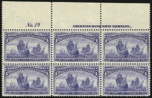 Sale Number 1037, Lot Number 1810, 1893 Columbian Issue, 1c thru 30c (Scott 230-239)4c Columbian (233), 4c Columbian (233)