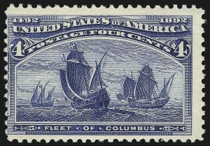 Sale Number 1037, Lot Number 1811, 1893 Columbian Issue, 1c thru 30c (Scott 230-239)4c Columbian, Error of Color (233a). Mint N.H, 4c Columbian, Error of Color (233a). Mint N.H